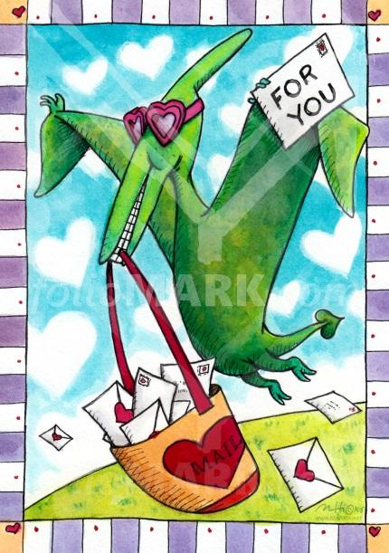 Dinosaur Valentine Delivery by illustrator Mark A. Hicks