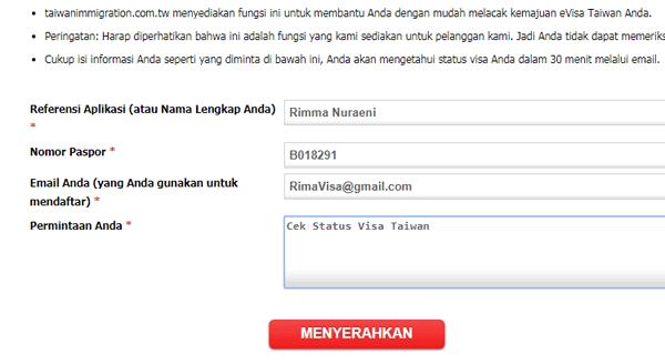 contoh form cek visa taiwan online