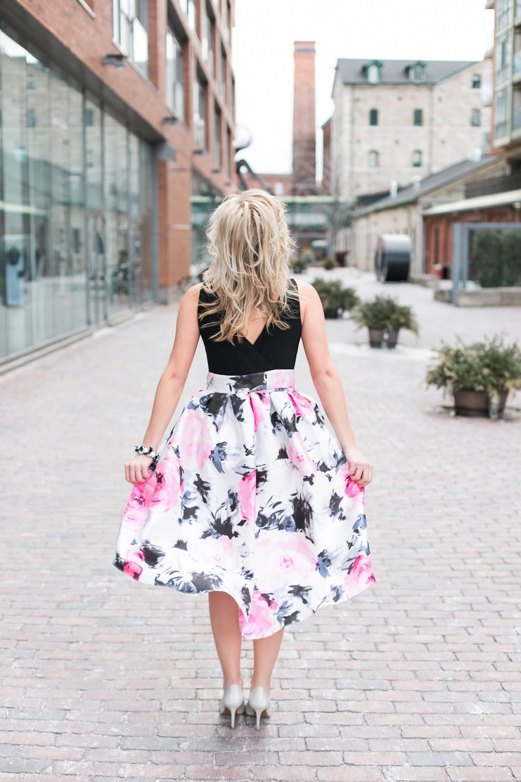 Bijuleni - Floral high and low Dress, Faux Fur Zara Vest and sparkly heels