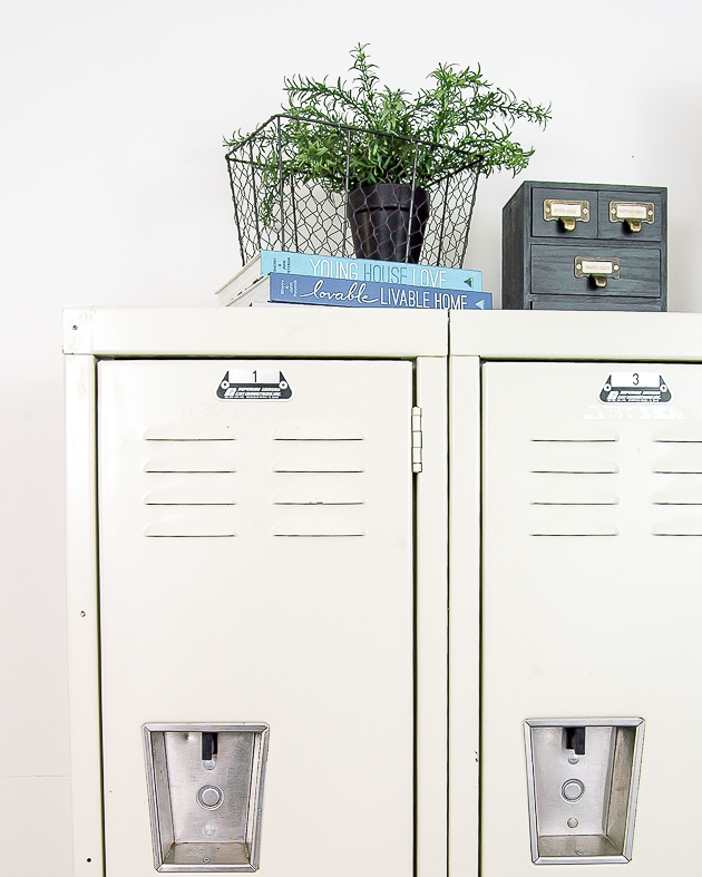Industrial modern farmhouse office, lockers, office, vintage