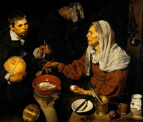 Диего Веласкес - Пожилая женщина, жарящая яйца (ок.1618)