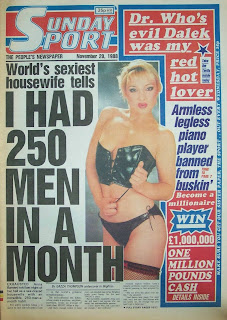 Vintage Sunday Sport newspaper front page from 20 November 1988