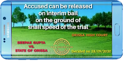 Accused can be released on interim bail on the ground of snail speed of the trial