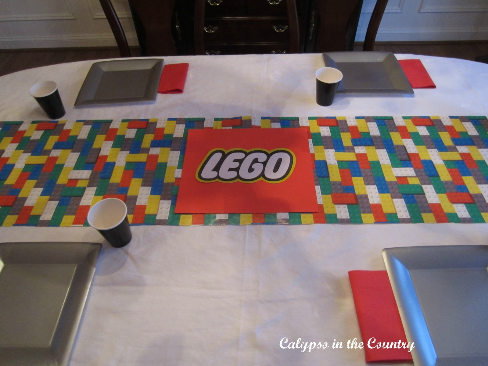 Lego Table Setting with Gift Wrap as a Table Runner