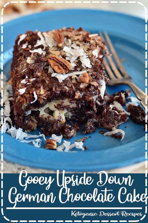 An easy delicious twist on the traditional German Chocolate Cake Gooey Upside Down German Chocolate Cake