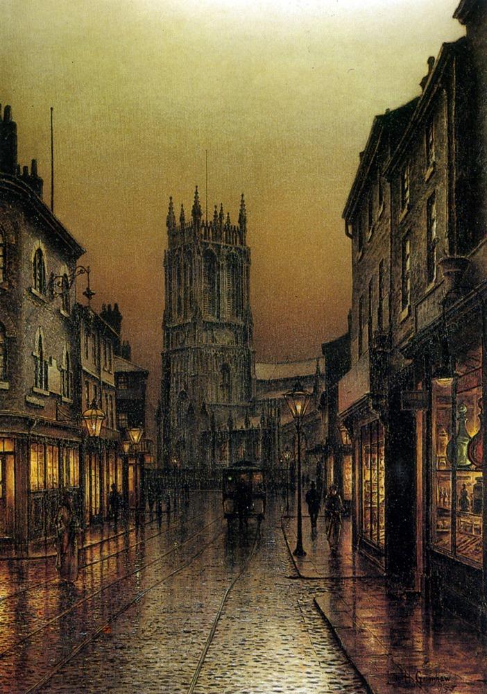 Evensong, St. Peter's Church, Leeds, 1895 Artwork by Louis H. Grimshaw