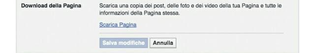 Facebook salva pagina