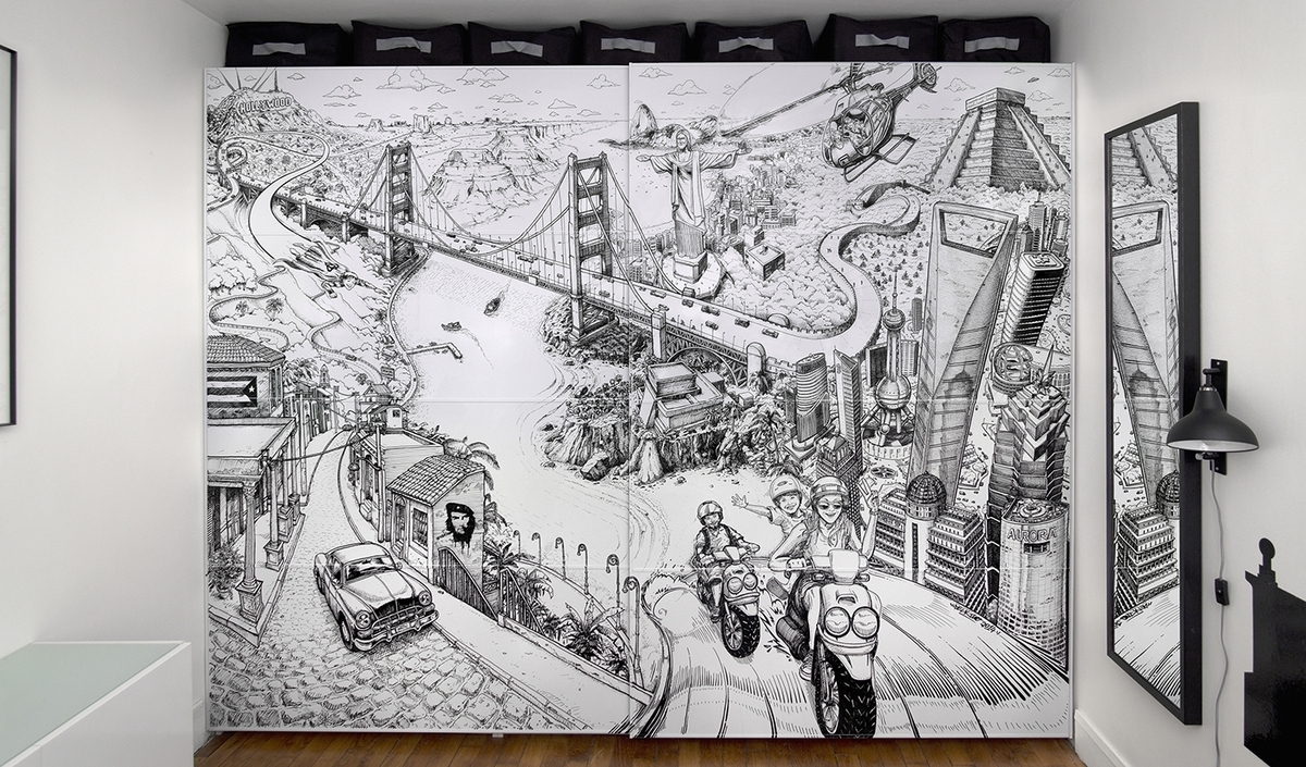 03-Around-The-World-DeckTwo-www-Freehand-Massive-Drawings-using-a-Marker-Pen-designstack-co