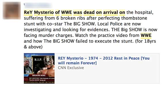Facebook spam messages says WWE Champion Rey Mysterio dies during fight