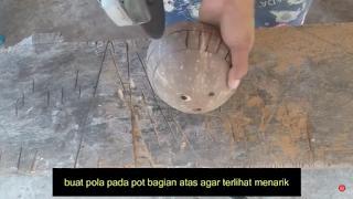 Cara Membuat Kerajinan Pot Bunga Dari Batok Kelapa Besarta Gambarnya