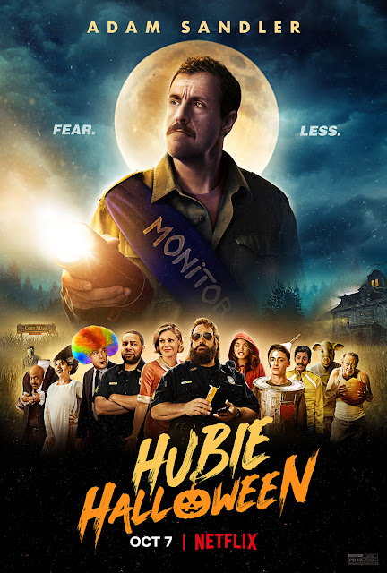 "Movie poster for the Netflix original film ""Hubie Halloween"" (2020), starring Adam Sandler, Kevin James, Julie Bowen, Steve Buscemi, Ray Liotta, and Maya Rudolph"