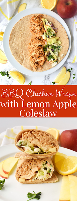 Barbecue Chicken Wraps with Lemon Apple Coleslaw