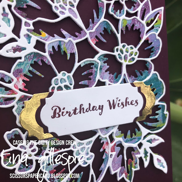 scissorspapercard, Stampin' Up!, CASEing The Catty, Many Layered Blooms Dies, Lily Impressions DSP, Itty Bitty Birthday, Ornate Frames Dies