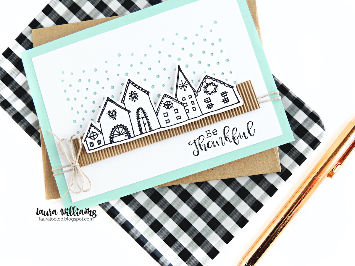 Make a clean and simple winter Thank You card with the Nordic Village stamp from Impression Obsession. This card features a snowy die cut background, corrugated stock, a simple twine bow and this darling stamped image from IO Stamps. Click for all the details and tips for creating this cardmaking idea yourself!