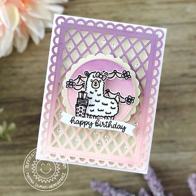 Sunny Studio Stamps: Lovable Llama Frilly Frame Dies Birthday Card by Mayra Duran-Hernandez