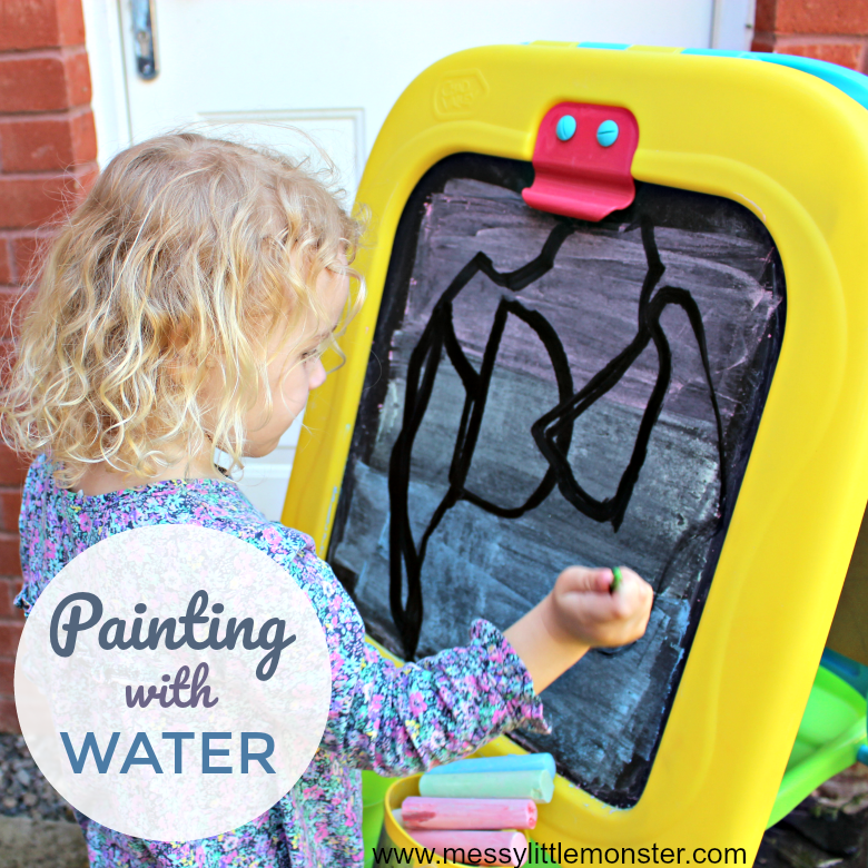Painting with water - an easy to set up outdoor art idea for kids. This fun summer activity is a great fine motor and mark making activity for toddlers and preschoolers.