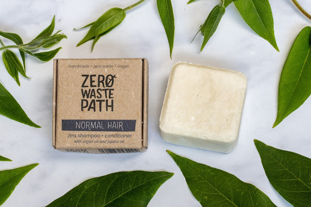 Zero Waste Path Normal Hair 2in1 Shampoo & Conditioner received for review shown out of packaging and surrounded by leaves
