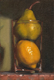 Still life oil painting of a lemon and a pear inside a cider glass.