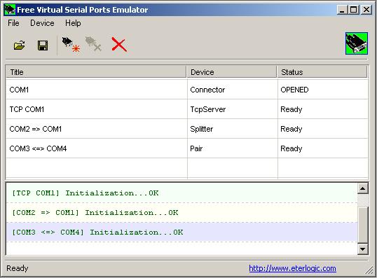 ETERLOGIC Virtual Serial Port Emulator l'outils qui vous permet de tout faire