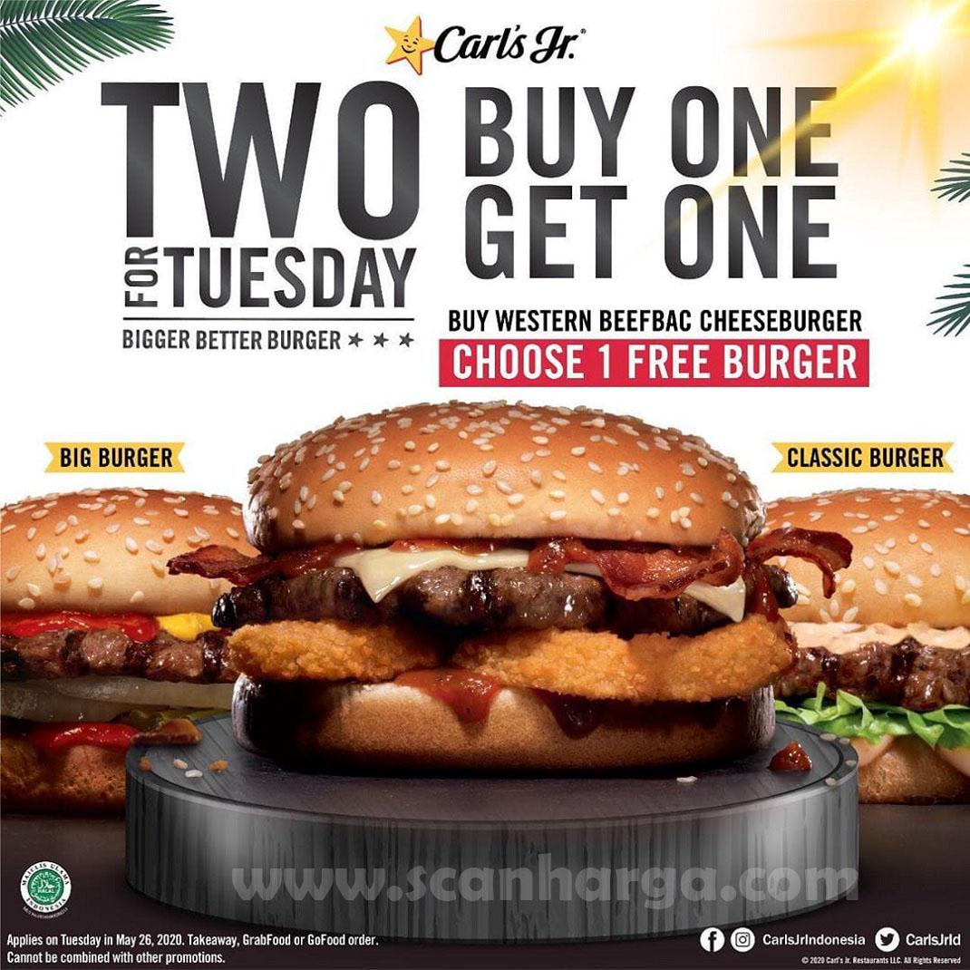 Promo Carl's Jr Spesial Selasa Beli 1 Gratis 1 + Gratis 2 Pilihan Burger