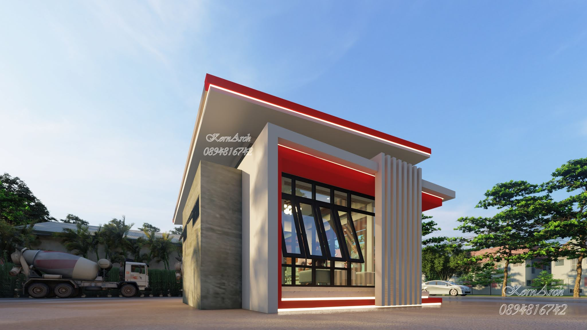 รับออกแบบสำนักงานชั้นเดียว เจ้าของอาคาร หจก.วุฒิสารพิบูลก่อสร้าง อ.พิบูลมังสาหาร จ.อุบลราชธานี