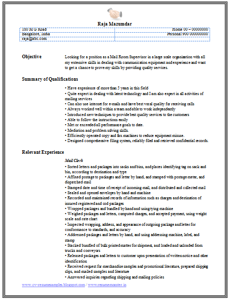 over 10000 cv and resume samples with free download  mail clerk resume sample