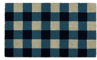 blue gingham door mat