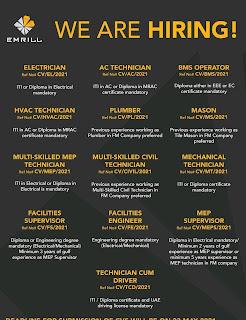 Emrill Services LLC Requirement For Technician, Electrician, Painter, Carpenter, Plumber, HVAC Technician & AC Technician For Dubai | Apply Online