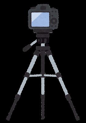 カメラを載せた三脚のイラスト(ファインダー側)