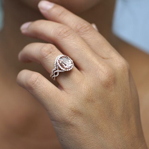 Rose Gold Engagement Ring White Gold Wedding Band