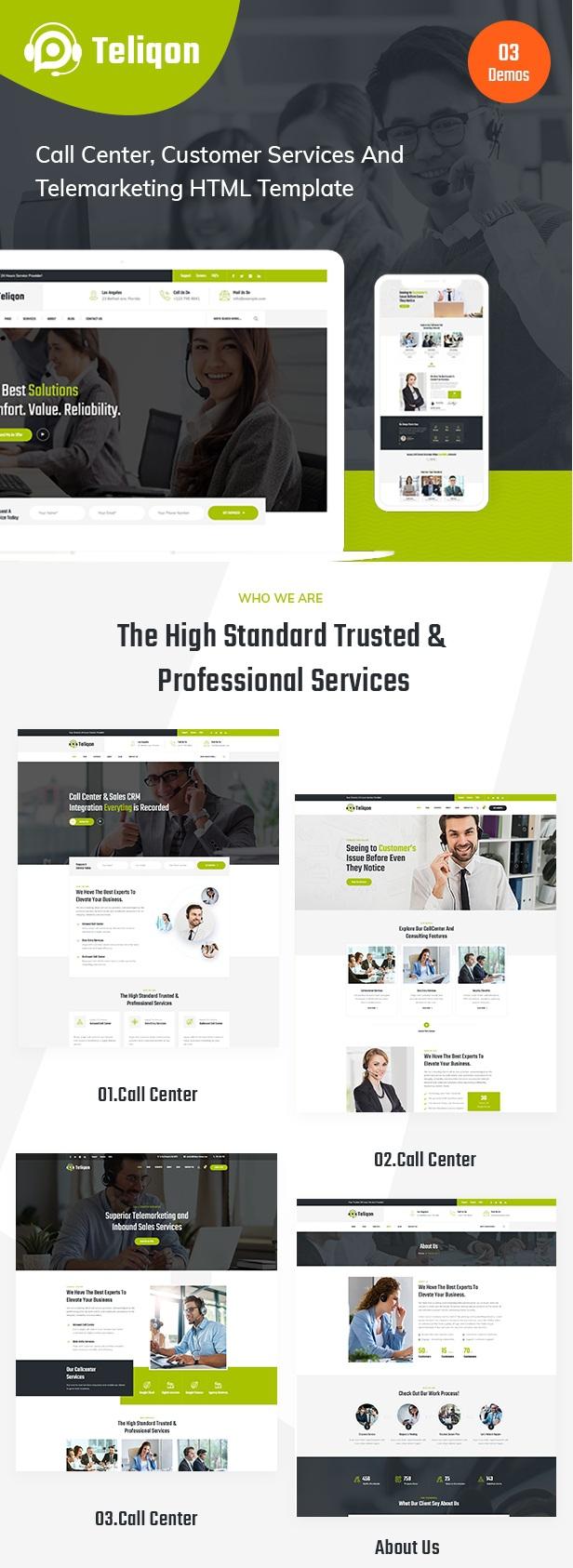 Call Center & Telemarketing Website Template