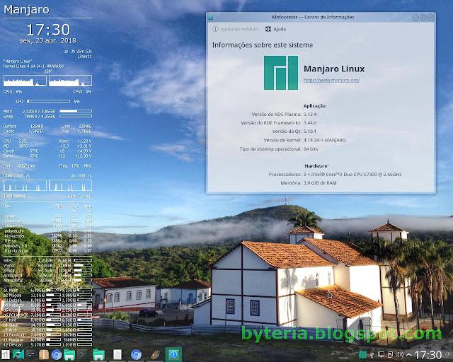 Manjaro instalado KDE - com KInfocenter e Conky