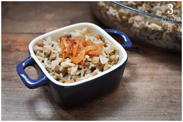arroz com lentilha e cebola