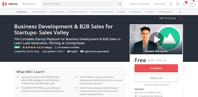 Business Development & B2B Sales for Startups- Sales Valley-Udemy Free (100%)