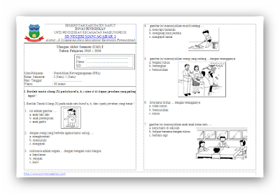 Soal UAS KTSP PKn Kelas 1 Semester 1
