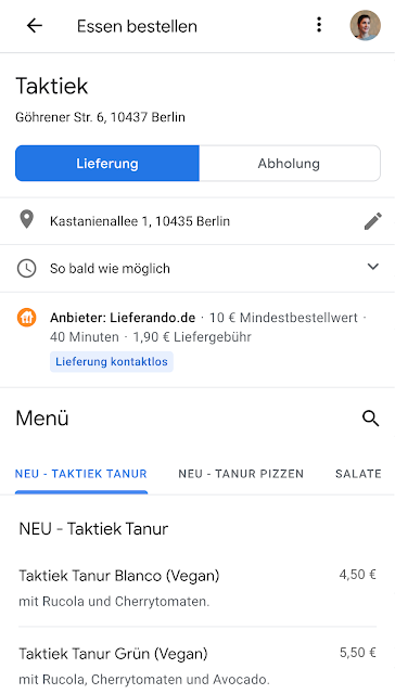 Screenshot einer Essensbestellung in Google Maps