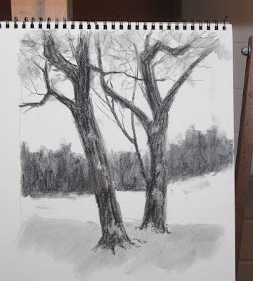 charcoal sketch winter tree trunk landscape