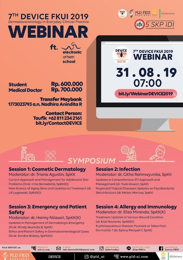 Seminar dan Web Seminar *DEVICE *(Dermatovenereology ini Everyday Clicinal Practice) 31 Agustus 2019