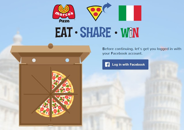 Marco's Pizza wants you to eat, share and win! Build a pizza by sharing and for every pizza you complete you get a chance at their spin to win game! One lucky winner will get a trip to ITALY!