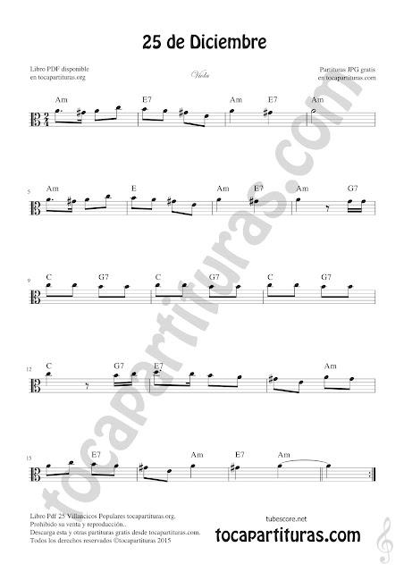 Viola Partitura de 25 de Diciembre Villancico de Navidad Sheet Music for Viola Christmas Carol Music Score