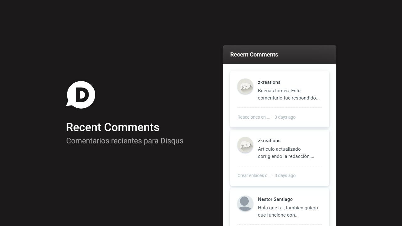 Recent Comments for Blogger Disqus