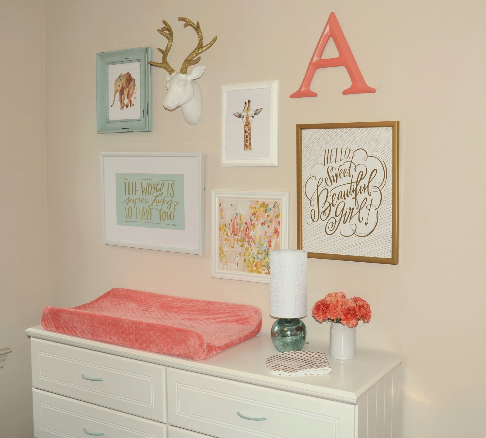 Pink Mint And Gold Nursery: Aib: Nursery Reveal: Annelise's Mint, Coral & Gold Nursery
