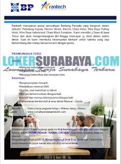 Loker Surabaya Terbaru di CV Bentang Persada Group (Rantech) Juni 2019