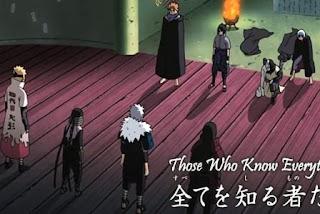 Hokage Pertama Hashirama Senju, hokage Kedua Tobirama Senju, Hokage Ketiga Hiruzen Sarutobi, dan Hokage Keempat Minato Namikaze, Sasuke, Orochimaru, Kabuto