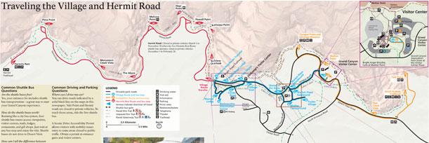 Guia para visitar el Gran Cañon mapa bus