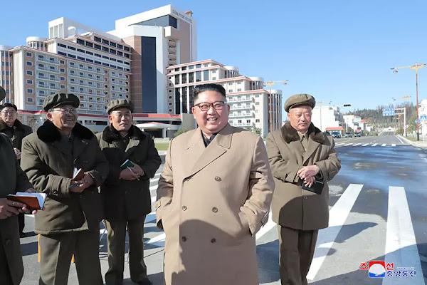Kim Jong Un at Samjiyon County construction sites, October 2019