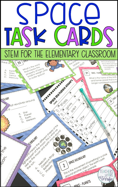 If you like task cards you are going to love this fun set about Space and the Planets. Your students will love these, too! This is a set of 48 task cards - perfect for many things!