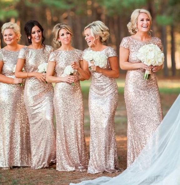 golden sequin bridesmaid dress