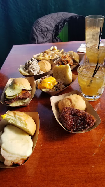 Sliders and drinks at Green Dot Stables, Detroit