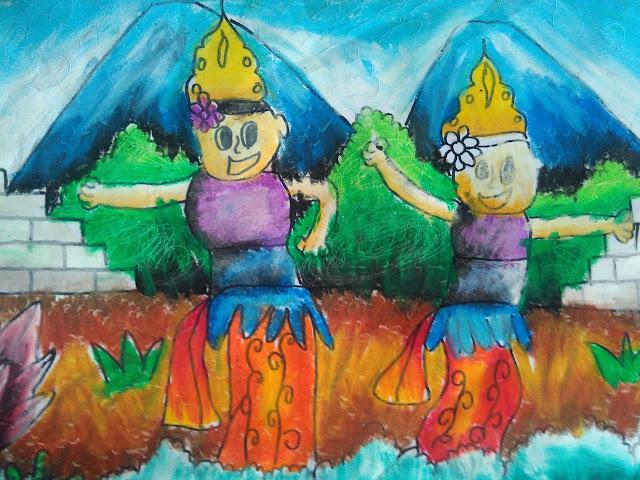 gambar anak tema kesenian anak sedang menari